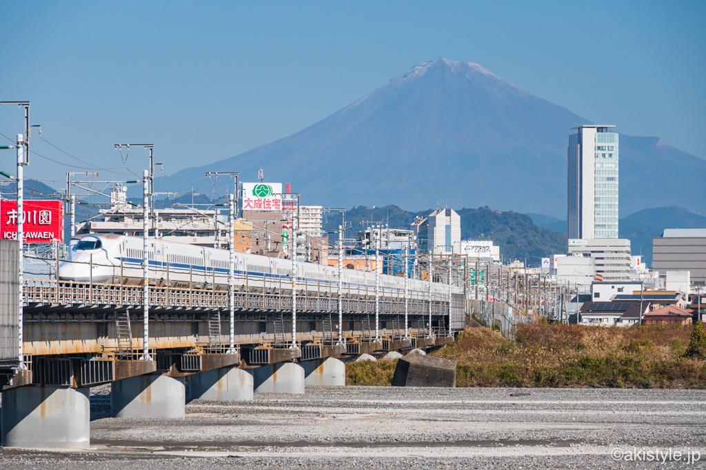 安倍川からの富士山と新幹線