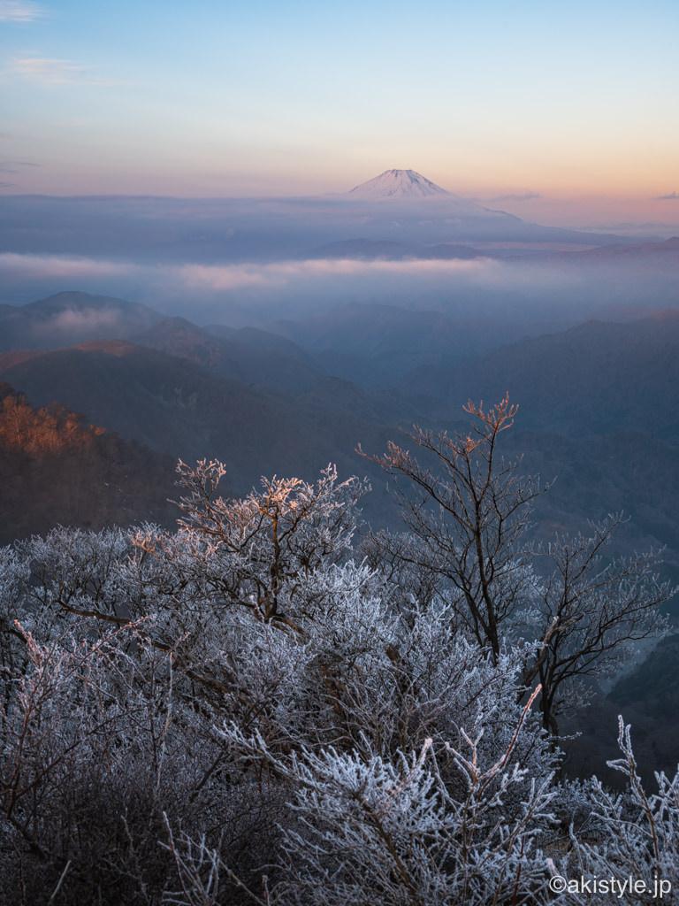 塔ノ岳の霧氷と富士山