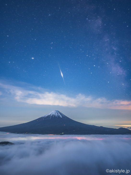 富士山と火球と大雲海