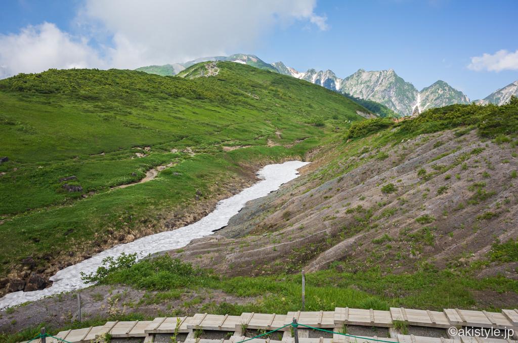 八方尾根の雪渓