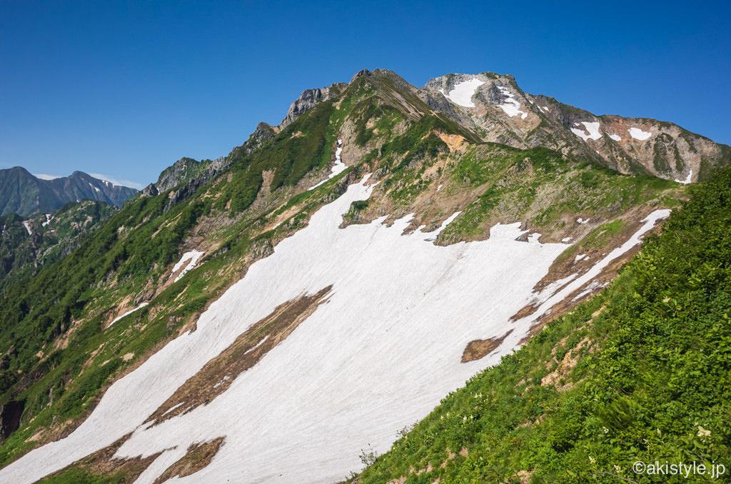 遠見尾根と雪渓